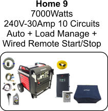 Home 9 7000Watts 240V-30Amp 10 Circuits Auto + Load Manage +  Wired Remote Start/Stop