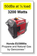 Honda EU3000is  Propane and Natural Gas  by Genconnexy  3200 Watts 50dBa at ¼ load