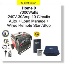 #2 Best Seller Home 9 7000Watts 240V-30Amp 10 Circuits Auto + Load Manage +  Wired Remote Start/Stop