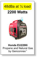 Honda EU2200i Propane and Natural Gas  by Genconnexy  2200 Watts 48dBa at ¼ load