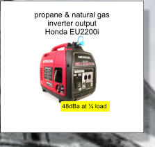 propane & natural gas inverter output Honda EU2200i 48dBa at ¼ load